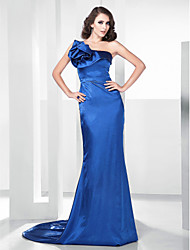 cheap -Mermaid / Trumpet Open Back Formal Evening Dress One Shoulder Sleeveless Sweep / Brush Train Satin Stretch Satin with Ruffles 2021