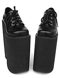 cheap -Women's Lolita Shoes Punk Lolita Lolita High Heel Shoes Solid Colored 22 cm Black PU Leather / Polyurethane Leather Halloween Costumes