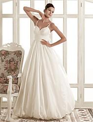 cheap -Princess A-Line Wedding Dresses Spaghetti Strap Sweep / Brush Train Taffeta Sleeveless with 2021