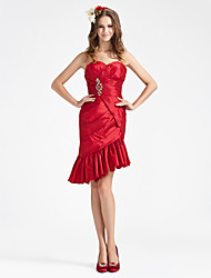 cheap -Sheath/ Column Strapless Asymmetrical Taffeta Bridesmaid Dress