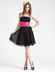 cheap -Princess / A-Line Strapless Knee Length Chiffon Bridesmaid Dress with Sash / Ribbon / Ruched / Draping