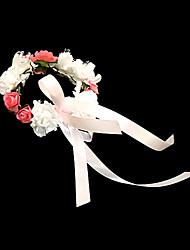 Недорогие -прекрасный белый с оранжевым бумаги цветок свадьба девушки цветка / свадебный запястье цветок