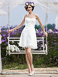cheap -Princess A-Line Wedding Dresses Strapless Short / Mini Chiffon Lace Sleeveless Little White Dress with 2020