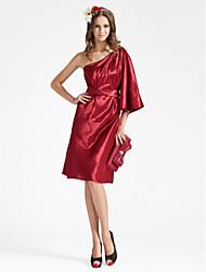 cheap -Sheath / Column One Shoulder Knee Length Charmeuse Bridesmaid Dress with Sash / Ribbon / Side Draping by LAN TING BRIDE®