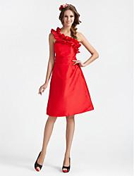 cheap -Princess / A-Line One Shoulder Knee Length Taffeta Bridesmaid Dress with Sash / Ribbon / Ruffles