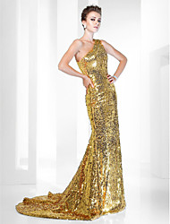 cheap -Mermaid / Trumpet Celebrity Style Elegant All Celebrity Styles Formal Evening Dress One Shoulder Sleeveless Sweep / Brush Train Sequined with Sequin 2021