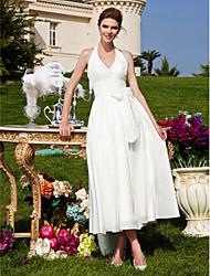 cheap -A-line Halter Tea-length Taffeta Wedding Dress