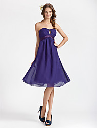 cheap -Sheath/ Column Sweetheart Knee-length Chiffon Bridesmaid Dress