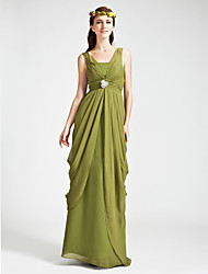cheap -Sheath / Column Straps / V Neck Floor Length Chiffon Bridesmaid Dress with Ruched / Crystals / Draping / Open Back