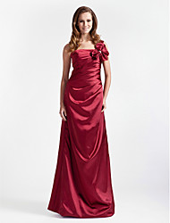 cheap -Ball Gown / A-Line One Shoulder Floor Length Stretch Satin Bridesmaid Dress with Bow(s) / Ruched
