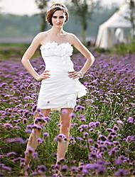 cheap -Sheath / Column Wedding Dresses Strapless Short / Mini Taffeta Sleeveless Little White Dress with 2021