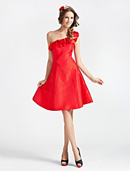 cheap -A-line One Shoulder Sleeveless Knee-length Taffeta Bridesmaid Dress