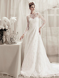 cheap -Princess A-Line Wedding Dresses Jewel Neck Court Train Lace Satin Long Sleeve with 2020 / Illusion Sleeve