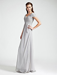 cheap -Sheath / Column V Neck / Off Shoulder Floor Length Chiffon Bridesmaid Dress with Draping / Criss Cross / Open Back