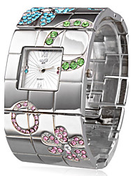 cheap -Women's Wrist Watch Square Watch Japanese Quartz Stainless Steel Silver Casual Watch Ladies Luxury Flower Bohemian Bangle - Silver One Year Battery Life / SSUO SR626SW