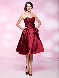 cheap -Ball Gown Holiday Homecoming Cocktail Party Dress Sweetheart Neckline Strapless Sleeveless Knee Length Stretch Satin with Ruched Draping Flower 2021