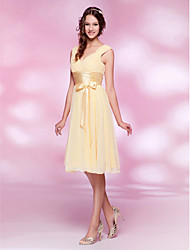 cheap -Ball Gown / A-Line V Neck Knee Length Chiffon Bridesmaid Dress with Sash / Ribbon / Bow(s) / Ruched