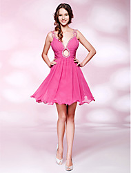 cheap -Ball Gown Homecoming Cocktail Party Sweet 16 Dress V Neck Sleeveless Short / Mini Chiffon with Ruched Beading Draping 2021