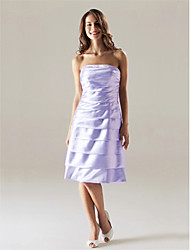 cheap -A-Line Homecoming Wedding Party Dress Strapless Sleeveless Knee Length Satin with 2021