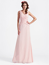 cheap -A-Line / Ball Gown V Neck Floor Length Chiffon Bridesmaid Dress with Criss Cross / Open Back