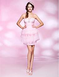 cheap -A-Line Princess Strapless Sweetheart Short / Mini Organza Satin Cocktail Party Homecoming Sweet 16 Dress with Beading Sequin Draping