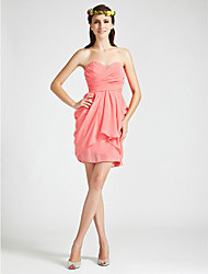 cheap -Sheath / Column Homecoming Cocktail Party Wedding Party Dress Sweetheart Neckline Strapless Sleeveless Short / Mini Chiffon with Criss Cross Draping 2021