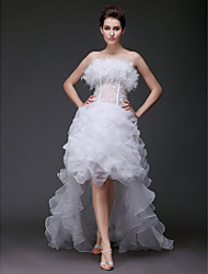 cheap -Ball Gown Wedding Dresses Strapless Sweep / Brush Train Asymmetrical Organza Sleeveless with 2020