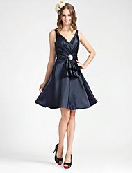 cheap -Princess / A-Line V Neck Knee Length Stretch Satin Bridesmaid Dress with Criss Cross / Crystal Brooch