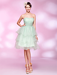 cheap -Ball Gown Homecoming Cocktail Party Sweet 16 Dress Sweetheart Neckline Strapless Sleeveless Knee Length Organza with Ruched Beading Draping 2021