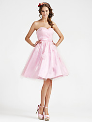 cheap -A-line Strapless Sweetheart Knee-length Stretch Satin Bridesmaid Dress