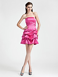 cheap -A-Line Princess Strapless Short / Mini Satin Bridesmaid Dress with Bow(s) Pick Up Skirt Ruched by