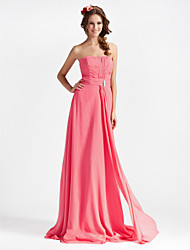 cheap -Sheath / Column Strapless Floor Length Chiffon Bridesmaid Dress with Draping / Crystal Brooch / Ruched by LAN TING BRIDE®