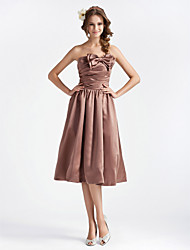 cheap -Ball Gown Cocktail Party Wedding Party Dress Strapless Sleeveless Knee Length Satin with Bow(s) Draping Side Draping 2021