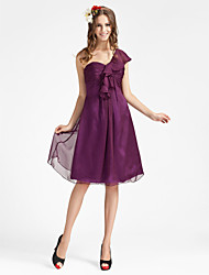 cheap -Sheath / Column One Shoulder Knee Length Chiffon Bridesmaid Dress with Draping Ruched Ruffles by