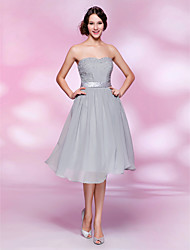 cheap -A-line Strapless Knee-length Chiffon Cocktail Dress With Beading