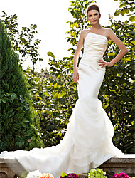 cheap -Mermaid / Trumpet Wedding Dresses Strapless Court Train Organza Satin Sleeveless with 2020