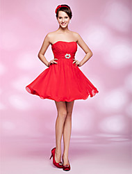 cheap -Ball Gown Holiday Homecoming Cocktail Party Dress Strapless Sleeveless Short / Mini Chiffon with Ruched Draping Crystal Brooch 2021