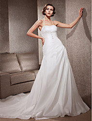 cheap -Princess A-Line Wedding Dresses Halter Neck Sweetheart Neckline Court Train Taffeta Sleeveless with 2021