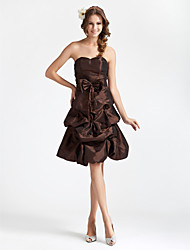 cheap -Princess / A-Line Strapless / Sweetheart Neckline Knee Length Taffeta Bridesmaid Dress with Pick Up Skirt / Bow(s)