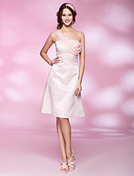 cheap -Ball Gown Homecoming Cocktail Party Wedding Party Dress One Shoulder Sleeveless Knee Length Chiffon Satin with Beading Draping 2021
