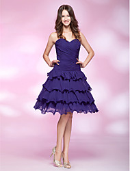 cheap -Ball Gown Homecoming Cocktail Party Sweet 16 Dress Sweetheart Neckline Strapless Sleeveless Knee Length Chiffon with Criss Cross Ruched Side Draping 2021