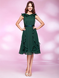 cheap -Ball Gown Holiday Homecoming Cocktail Party Dress V Neck Sleeveless Knee Length Chiffon with Ruffles Draping 2021