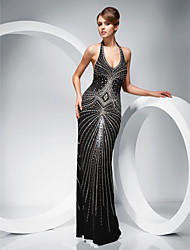 cheap -TS Couture Formal Evening / Military Ball Dress - Black Plus Sizes / Petite Sheath/Column Halter Floor-length Polyester