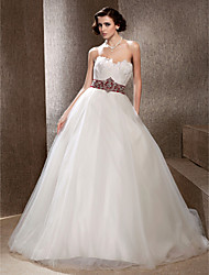 cheap -Ball Gown Wedding Dresses Strapless Chapel Train Tulle Feather Sleeveless Wedding Dress in Color with 2020