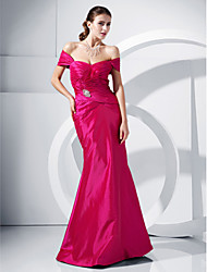 cheap -Mermaid / Trumpet Classic & Timeless Formal Evening Military Ball Dress Off Shoulder Short Sleeve Floor Length Taffeta with Ruched Side Draping 2021