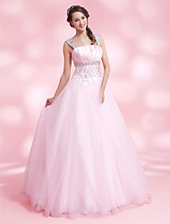 cheap -A-line Straps Floor-length Satin And Tulle Evening/Prom Dress
