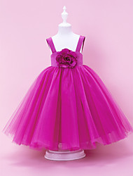 cheap -A-Line / Ball Gown / Princess Floor Length Flower Girl Dress - Satin / Tulle Sleeveless Straps with Draping / Flower