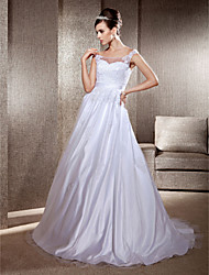 cheap -Ball Gown A-Line Wedding Dresses Scoop Neck Sweep / Brush Train Lace Tulle Sleeveless with 2020