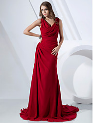 cheap -Sheath / Column V Neck / Cowl Neck Sweep / Brush Train Chiffon Elegant Formal Evening Dress with Side Draping / Criss Cross 2020