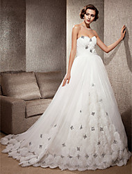 cheap -Ball Gown A-Line Wedding Dresses Strapless Sweetheart Neckline Cathedral Train Organza Satin Sleeveless with 2020